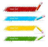 Vector colorful text box and pencils — Stock Vector