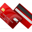 Vector Credit Card red icon Isolated on white — Stock Vector