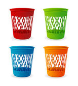 Vector plastic basket set, trash bins on white — Stock Vector