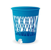 Vector plastic blue basket, trash bins on white — Stock Vector