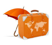 Illustration of traveling element baggage and umbrella — Stock Vector