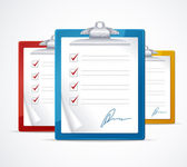 Vector illustration of check list and signature — Wektor stockowy