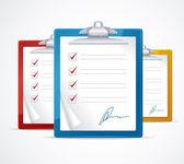 Ilustración vectorial de lista de verificación y firma — Vector de stock