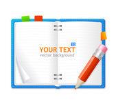 Vector open personal organizer book — Stock Vector