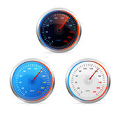 Speedometers, vector set — Stock Vector