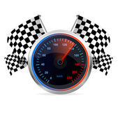 Racing Speedometer and checkered flags. Vector — Stock Vector