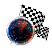 Racing Speedometer and checkered flag. Vector — Stock Vector
