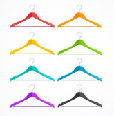 Coat hanger wood set isolated on white. Rainbow. — Stock Vector