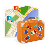Vector map icon and suitcase — Stock Vector
