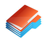 Four folders with paper. Folder stack — Stock Vector