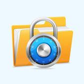 Yellow computer folder and combination lock. — Stock Vector