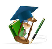 Graduation cap with book, sand clock and pen — Stock Vector