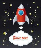 Comic cartoon rocket space ship and text — Stock Vector