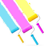 Vector roller brushes with CMYK paint — Stock Vector