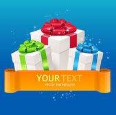 Gift boxes with bow and ribbon for text — Vector de stock