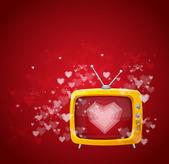 Hart en tv valentines dag kaart vector — Stockvector