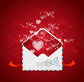 Corazón y correo el vector de tarjeta de San Valentín — Vector de stock