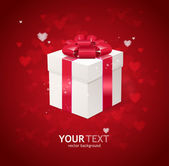 Heart and gift box Valentines day card — Stock Vector
