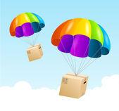 Vector parachute background. Air shipping concept — Stock Vector