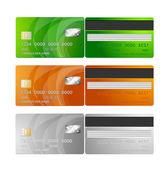 Vector Credit Cards (orange, green, silver) — Stock Vector
