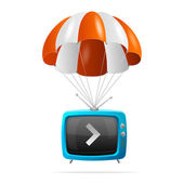 Tv and parachute — Stock Vector