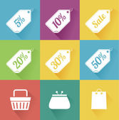 Vector set of modern flat sale icons. Shopping. — Stock Vector