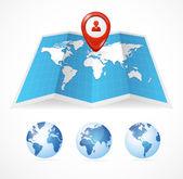 Vector kaartpictogram en globe, pin aanwijzer — Stockvector