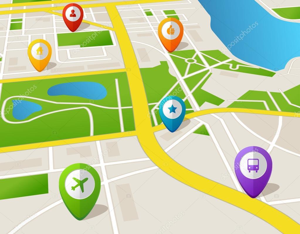 Icono Ubicacion Google Maps Png 3 Png Image: Mapa De La Ciudad De Vector Con Iconos De Gps