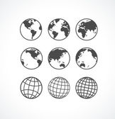 Vecrot globe icon set. — Stock Vector