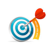 Dartboard with dart. Hitting A Target. Text banner — Stock Vector