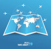 Vectorblue map icon and airplane. — Stock Vector