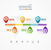 Vector Timeline Infographic. Map and pin — Stockvektor