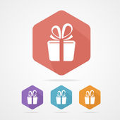Gift box sign vector icon. Present — Stock Vector