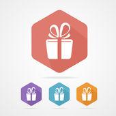 Gift box sign vector icon. Present — Stock Vector