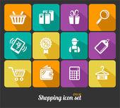Vector Shopping icons flat — Stock Vector