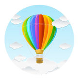 Vector rainbow air ballon and clouds — ストックベクタ