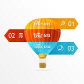 Vector hotair ballon, infographics options banner — Stock Vector