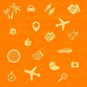 Vector travel background orange. Seamless pattern — Stock Vector