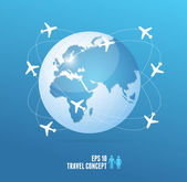Airplanes flying around the globe. Travel concept — Stok Vektör