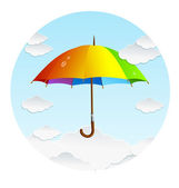 Vector rainbow umbrella and clouds — Stock Vector