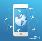 Airplanes flying around the globe. Phone concept — Stock Vector