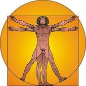 Man och cirkeln — Stockvektor