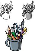 School writing items — Stock Vector