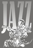 Jazzman and jazz — Stock Vector