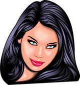 Nice girl (woman ) face from my fantasy — Vector de stock