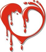 Red blood (liquid) heart — ストックベクタ