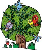 Tree and birds — Stock Vector