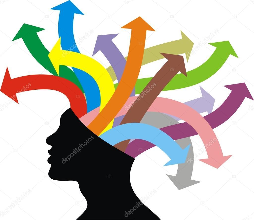 Bonita cabeza e ideas sobre el fondo blanco \u2014 Vector de pepeemilio2