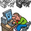 Man and computer problem — Stock Vector #25229297