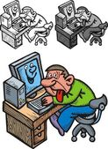 Man and computer problem — Vector de stock